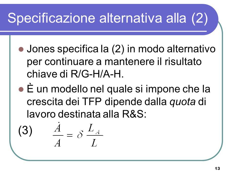 13 Specificazione alternativa alla (2) Jones specifica la (2) in modo alternativo per continuare a mantenere il risultato chiave di R/G-H/A-H.