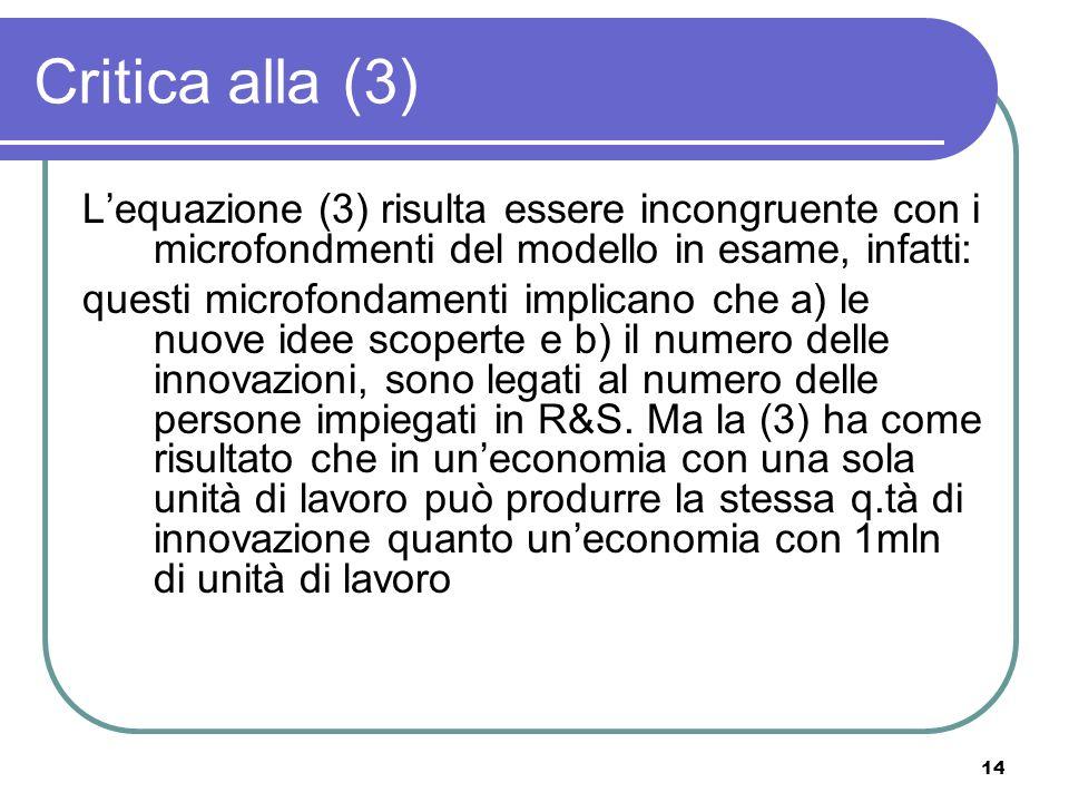14 Critica alla (3) Lequazione (3) risulta essere incongruente con i microfondmenti del modello in esame, infatti: questi microfondamenti implicano che a) le nuove idee scoperte e b) il numero delle innovazioni, sono legati al numero delle persone impiegati in R&S.