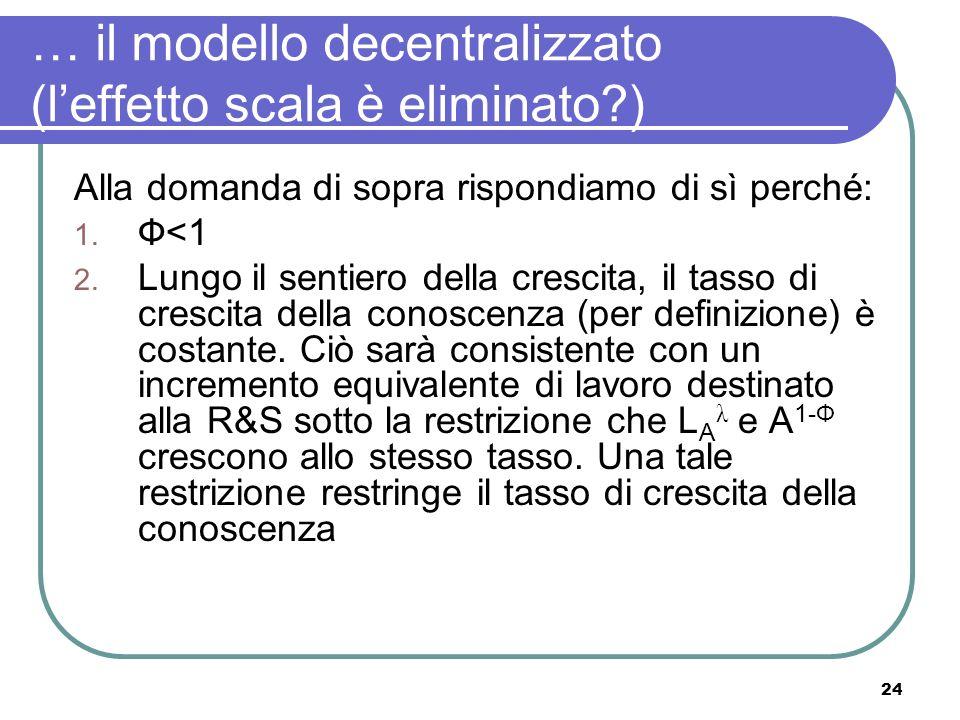 24 … il modello decentralizzato (leffetto scala è eliminato ) Alla domanda di sopra rispondiamo di sì perché: 1.