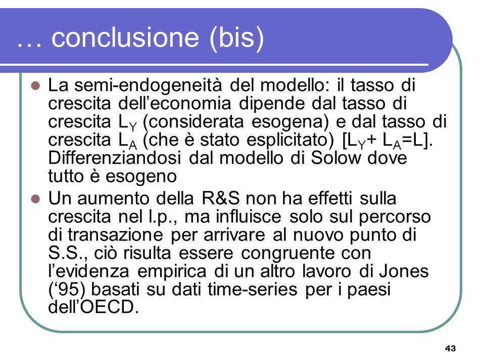 43 … conclusione (bis) La semi-endogeneità del modello: il tasso di crescita delleconomia dipende dal tasso di crescita L Y (considerata esogena) e dal tasso di crescita L A (che è stato esplicitato) [L Y + L A =L].