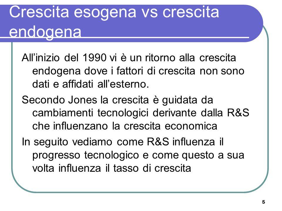 5 Crescita esogena vs crescita endogena Allinizio del 1990 vi è un ritorno alla crescita endogena dove i fattori di crescita non sono dati e affidati allesterno.