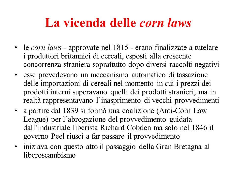 La vicenda delle corn laws le corn laws - approvate nel 1815 - erano finalizzate a tutelare i produttori britannici di cereali, esposti alla crescente