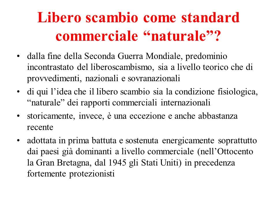 Libero scambio come standard commerciale naturale? dalla fine della Seconda Guerra Mondiale, predominio incontrastato del liberoscambismo, sia a livel