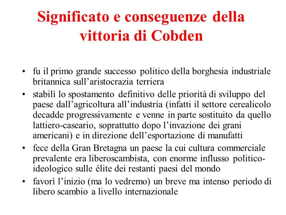 Significato e conseguenze della vittoria di Cobden fu il primo grande successo politico della borghesia industriale britannica sullaristocrazia terrie