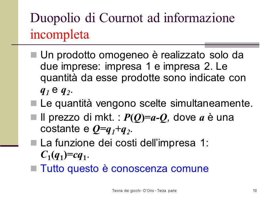 Teoria dei giochi - D'Orio - Terza parte9 Duopolio di Cournot ad informazione completa La rappresentazione in forma normale : Insieme dei giocatori: {