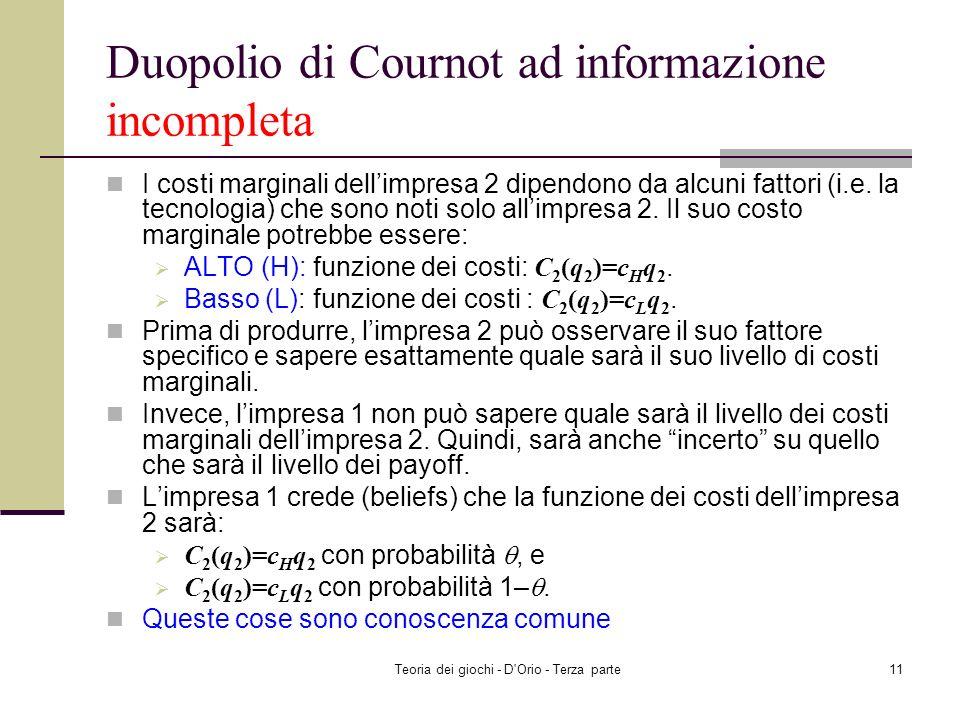 Teoria dei giochi - D'Orio - Terza parte10 Duopolio di Cournot ad informazione incompleta Un prodotto omogeneo è realizzato solo da due imprese: impre