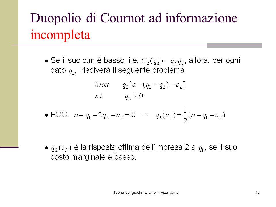 Teoria dei giochi - D'Orio - Terza parte12 Duopolio di Cournot ad informazione incompleta