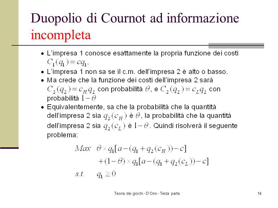 Teoria dei giochi - D'Orio - Terza parte13 Duopolio di Cournot ad informazione incompleta