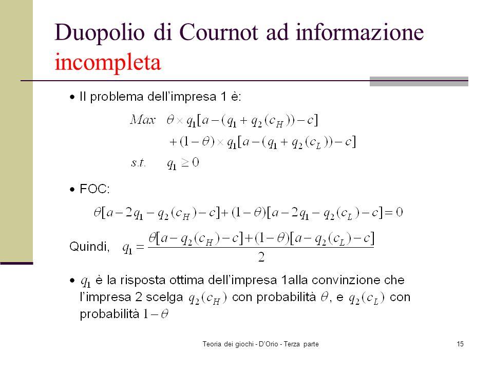 Teoria dei giochi - D'Orio - Terza parte14 Duopolio di Cournot ad informazione incompleta