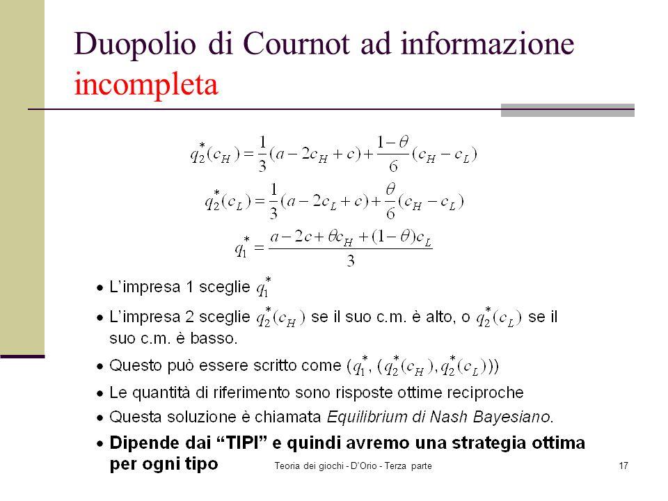 Teoria dei giochi - D'Orio - Terza parte16 Duopolio di Cournot ad informazione incompleta