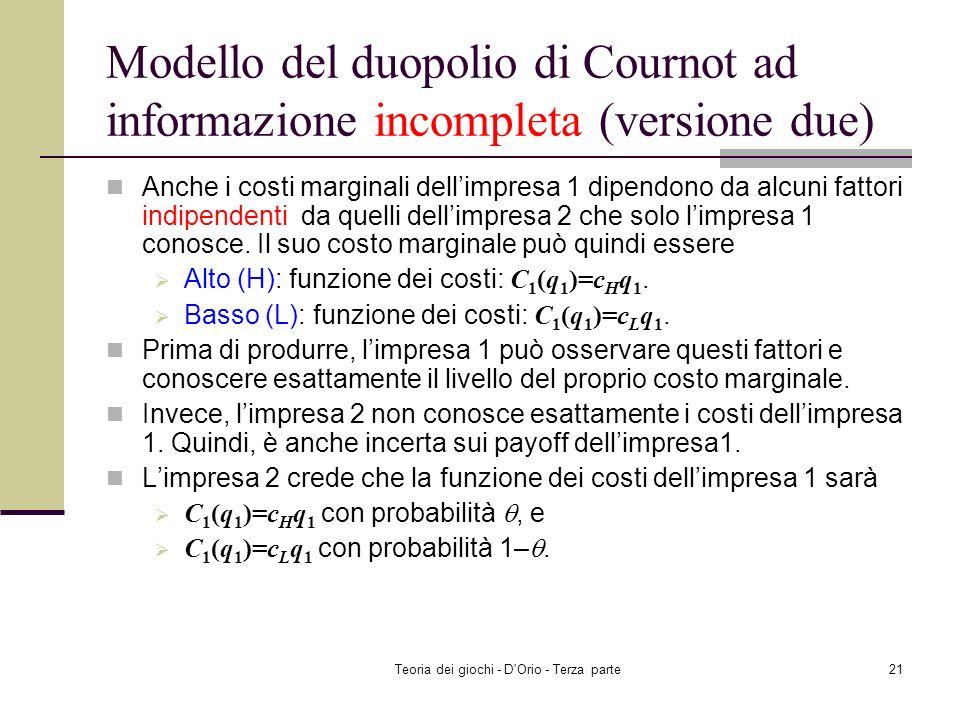 Teoria dei giochi - D'Orio - Terza parte20 Modello del duopolio di Cournot ad informazione incompleta (versione due) I costi marginali dellimpresa 2 d