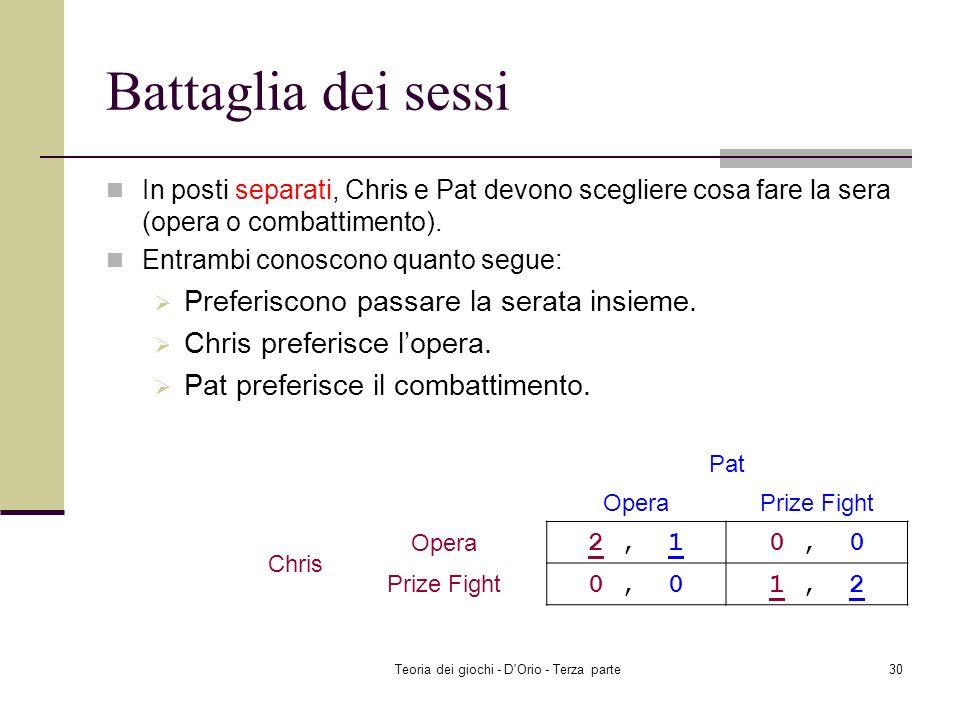 Teoria dei giochi - D'Orio - Terza parte29 Modello del duopolio di Cournot ad informazione incompleta (versione due)