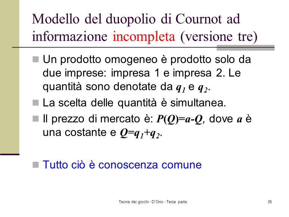 Teoria dei giochi - D'Orio - Terza parte35 Riassunto Modello del duopolio di Cournot ad informazione incompleta (versione due) Battaglia dei sessi ad