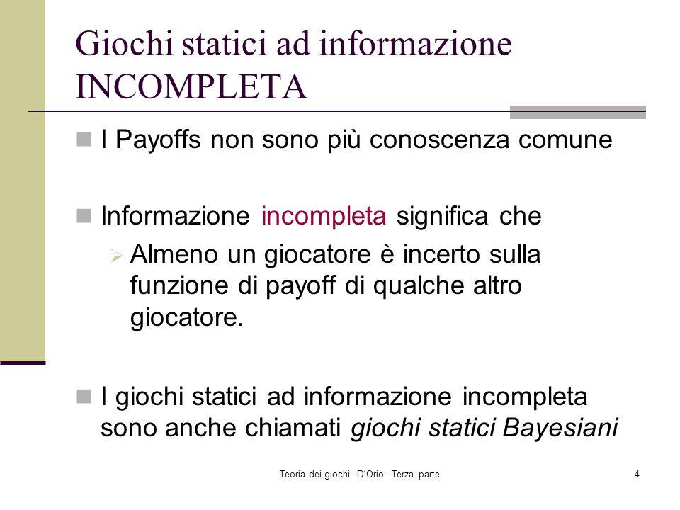 Teoria dei giochi - D Orio - Terza parte4 Giochi statici ad informazione INCOMPLETA I Payoffs non sono più conoscenza comune Informazione incompleta significa che Almeno un giocatore è incerto sulla funzione di payoff di qualche altro giocatore.