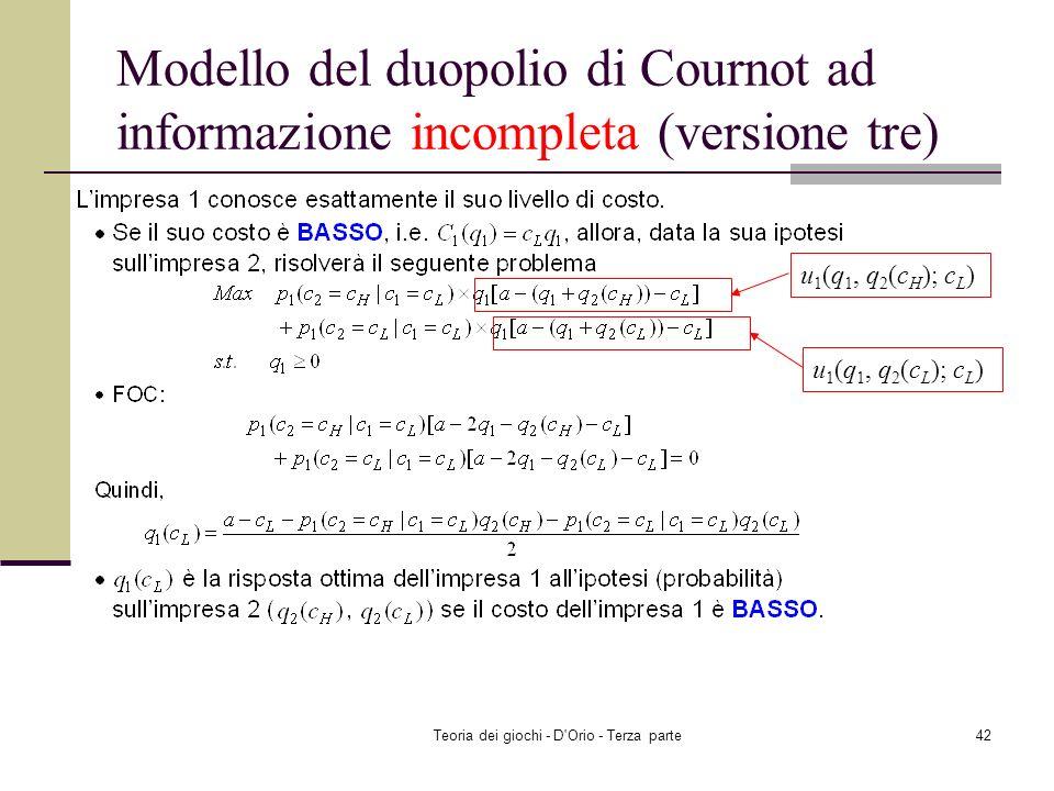Teoria dei giochi - D'Orio - Terza parte41 Modello del duopolio di Cournot ad informazione incompleta (versione tre) u 1 (q 1, q 2 (c H ); c H ) u 1 (