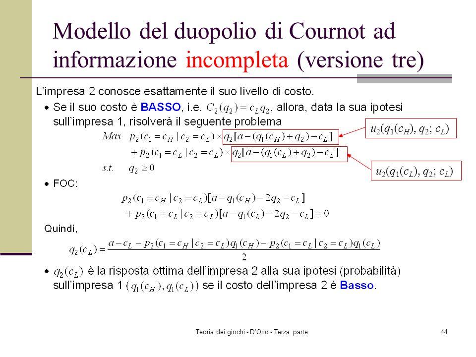 Teoria dei giochi - D'Orio - Terza parte43 Modello del duopolio di Cournot ad informazione incompleta (versione tre) u 2 (q 1 (c H ), q 2 ; c H ) u 2