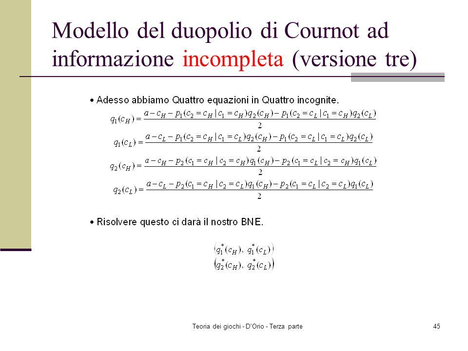 Teoria dei giochi - D'Orio - Terza parte44 Modello del duopolio di Cournot ad informazione incompleta (versione tre) u 2 (q 1 (c H ), q 2 ; c L ) u 2