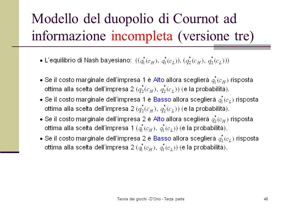 Teoria dei giochi - D'Orio - Terza parte45 Modello del duopolio di Cournot ad informazione incompleta (versione tre)