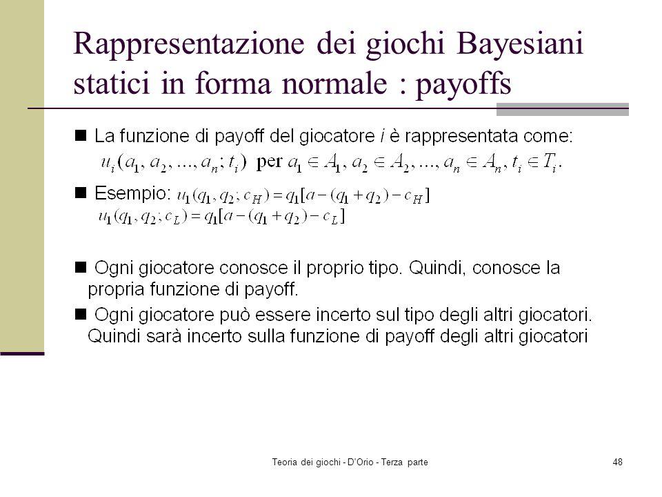 Teoria dei giochi - D'Orio - Terza parte47 Rappresentazione dei giochi Bayesiani statici in forma normale