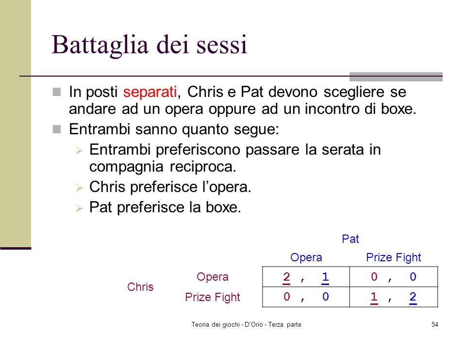 Teoria dei giochi - D'Orio - Terza parte53 Riassunto Duopolio di Cournot ad informazione incompleta (versione tre) Equilibrio di Nash Bayesiano Prossi