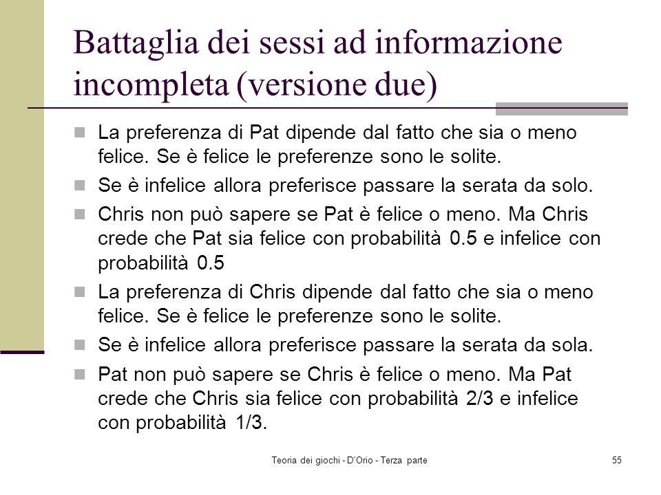 Teoria dei giochi - D'Orio - Terza parte54 Battaglia dei sessi In posti separati, Chris e Pat devono scegliere se andare ad un opera oppure ad un inco