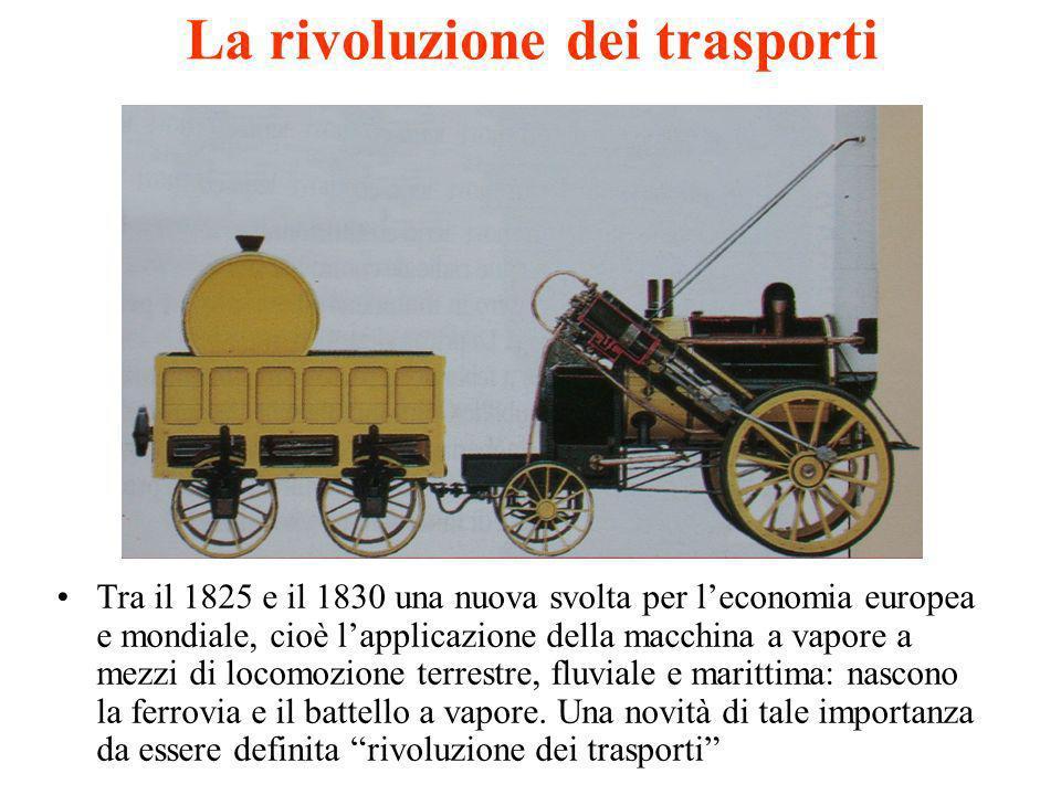 La rivoluzione dei trasporti Tra il 1825 e il 1830 una nuova svolta per leconomia europea e mondiale, cioè lapplicazione della macchina a vapore a mez