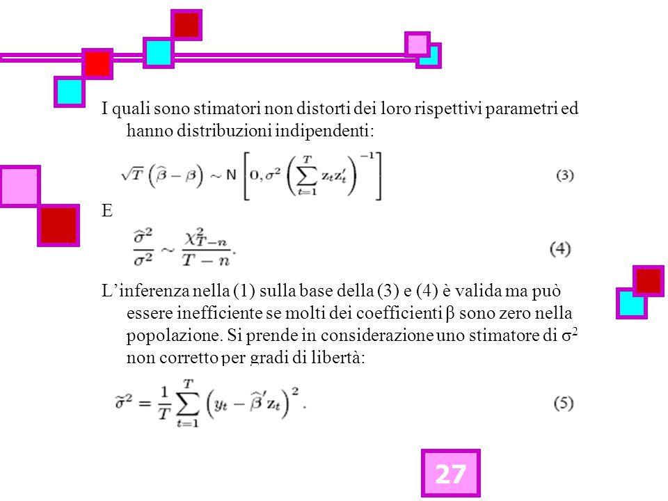 27 I quali sono stimatori non distorti dei loro rispettivi parametri ed hanno distribuzioni indipendenti: E Linferenza nella (1) sulla base della (3) e (4) è valida ma può essere inefficiente se molti dei coefficienti β sono zero nella popolazione.
