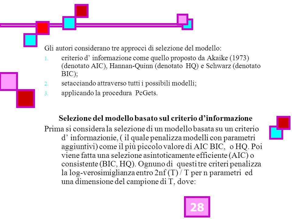 28 Gli autori considerano tre approcci di selezione del modello: 1.