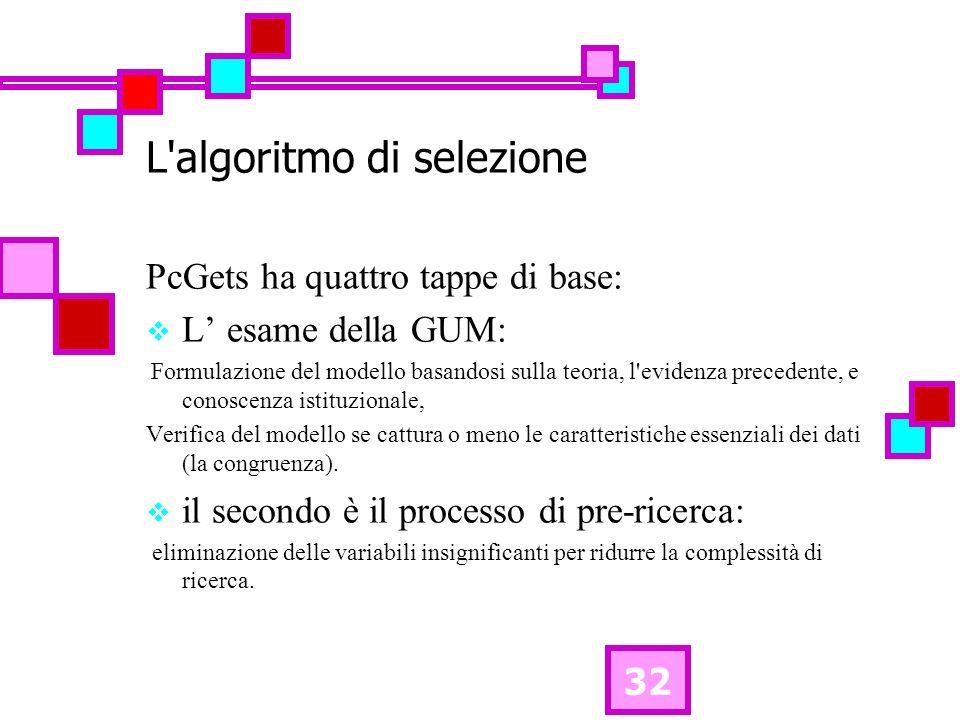 32 L algoritmo di selezione PcGets ha quattro tappe di base: L esame della GUM: Formulazione del modello basandosi sulla teoria, l evidenza precedente, e conoscenza istituzionale, Verifica del modello se cattura o meno le caratteristiche essenziali dei dati (la congruenza).