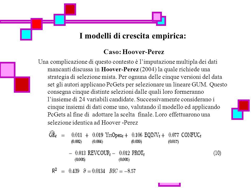 35 I modelli di crescita empirica: Caso: Hoover-Perez Una complicazione di questo contesto è limputazione multipla dei dati mancanti discussa in Hoover-Perez (2004) la quale richiede una strategia di selezione mista.