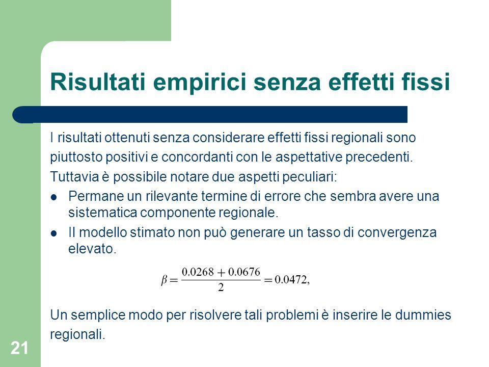 21 Risultati empirici senza effetti fissi I risultati ottenuti senza considerare effetti fissi regionali sono piuttosto positivi e concordanti con le aspettative precedenti.