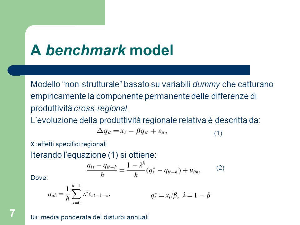 7 A benchmark model Modello non-strutturale basato su variabili dummy che catturano empiricamente la componente permanente delle differenze di produttività cross-regional.