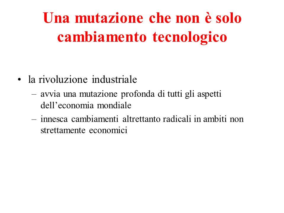 Una mutazione che non è solo cambiamento tecnologico la rivoluzione industriale –avvia una mutazione profonda di tutti gli aspetti delleconomia mondia
