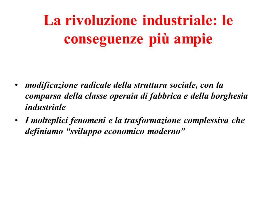 La rivoluzione industriale: le conseguenze più ampie modificazione radicale della struttura sociale, con la comparsa della classe operaia di fabbrica