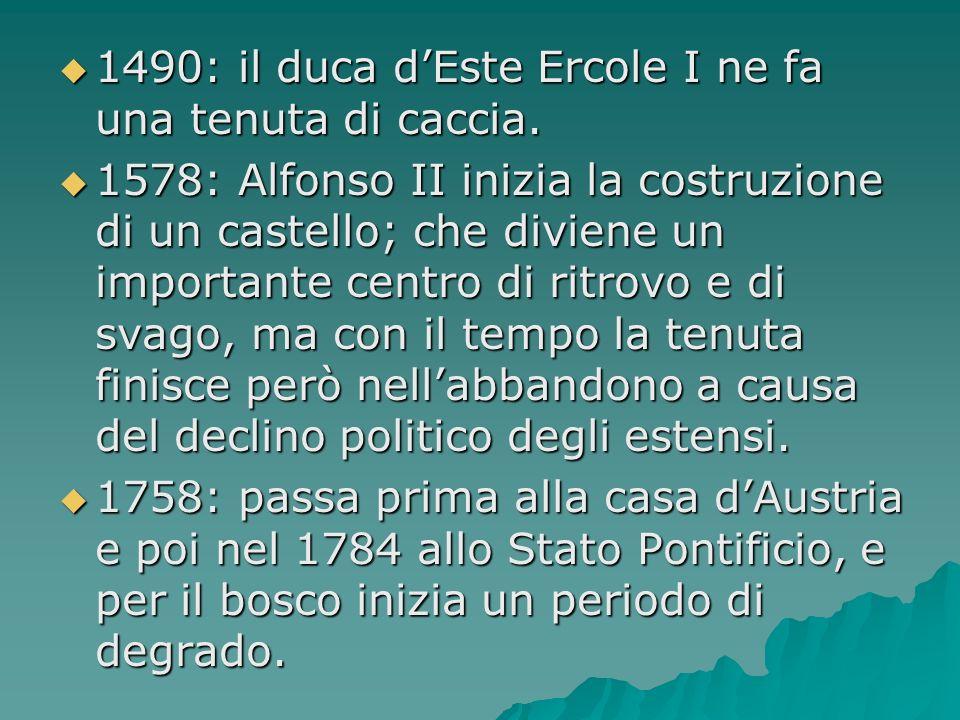 1490: il duca dEste Ercole I ne fa una tenuta di caccia. 1490: il duca dEste Ercole I ne fa una tenuta di caccia. 1578: Alfonso II inizia la costruzio