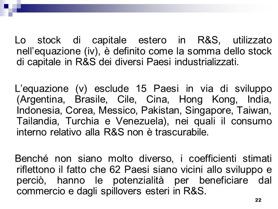 22 Lo stock di capitale estero in R&S, utilizzato nellequazione (iv), è definito come la somma dello stock di capitale in R&S dei diversi Paesi industrializzati.