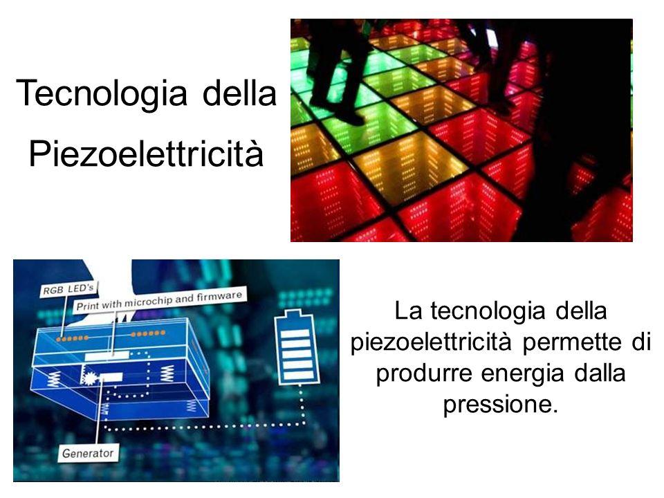 Tecnologia della Piezoelettricità La tecnologia della piezoelettricità permette di produrre energia dalla pressione.