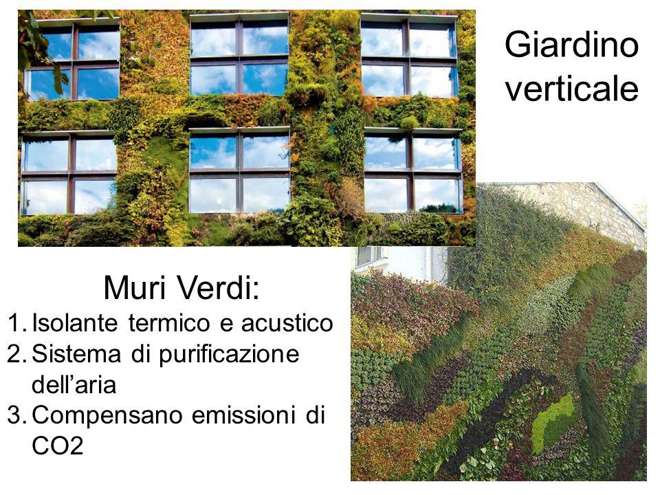 Giardino verticale Muri Verdi: 1.Isolante termico e acustico 2.Sistema di purificazione dellaria 3.Compensano emissioni di CO2