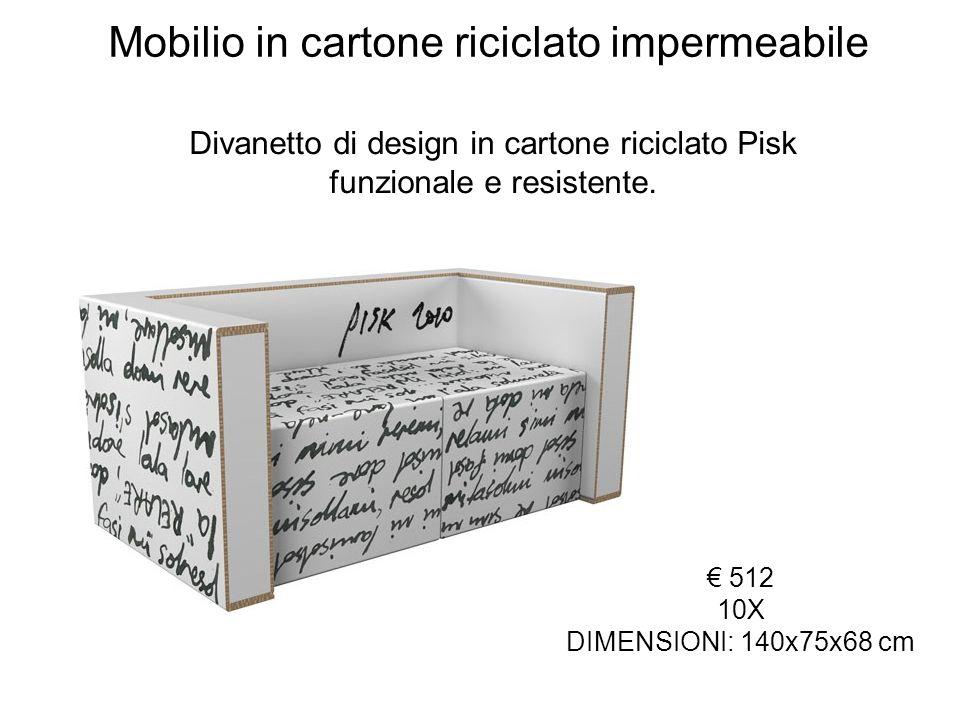 Mobilio in cartone riciclato impermeabile 512 10X DIMENSIONI: 140x75x68 cm Divanetto di design in cartone riciclato Pisk funzionale e resistente.
