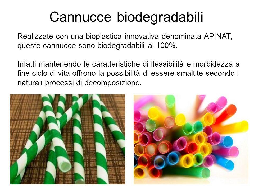 Cannucce biodegradabili Realizzate con una bioplastica innovativa denominata APINAT, queste cannucce sono biodegradabili al 100%. Infatti mantenendo l