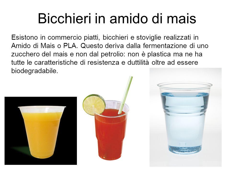 Bicchieri in amido di mais Esistono in commercio piatti, bicchieri e stoviglie realizzati in Amido di Mais o PLA. Questo deriva dalla fermentazione di