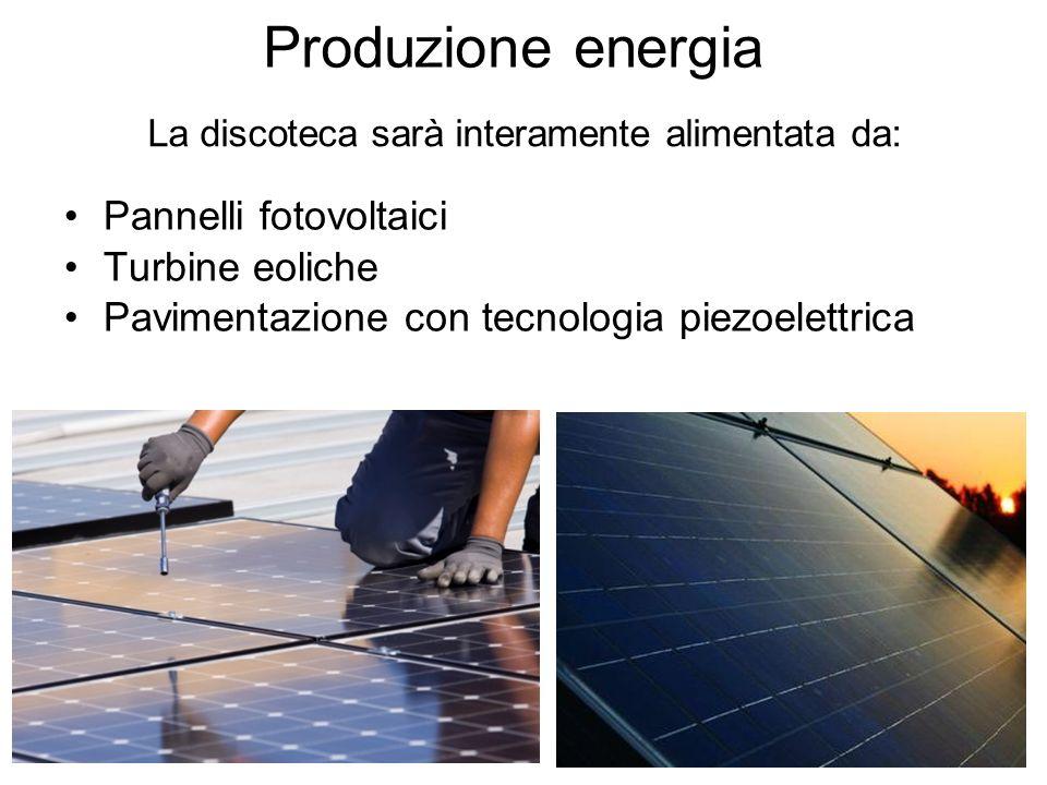 Produzione energia Pannelli fotovoltaici Turbine eoliche Pavimentazione con tecnologia piezoelettrica La discoteca sarà interamente alimentata da: