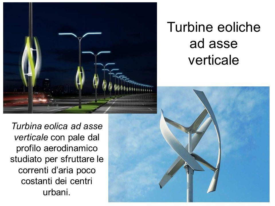 Turbine eoliche ad asse verticale Turbina eolica ad asse verticale con pale dal profilo aerodinamico studiato per sfruttare le correnti daria poco cos