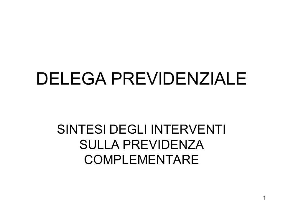 1 DELEGA PREVIDENZIALE SINTESI DEGLI INTERVENTI SULLA PREVIDENZA COMPLEMENTARE