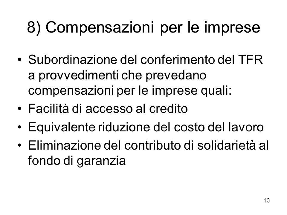 13 8) Compensazioni per le imprese Subordinazione del conferimento del TFR a provvedimenti che prevedano compensazioni per le imprese quali: Facilità di accesso al credito Equivalente riduzione del costo del lavoro Eliminazione del contributo di solidarietà al fondo di garanzia