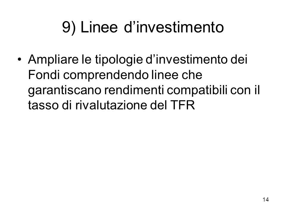 14 9) Linee dinvestimento Ampliare le tipologie dinvestimento dei Fondi comprendendo linee che garantiscano rendimenti compatibili con il tasso di rivalutazione del TFR