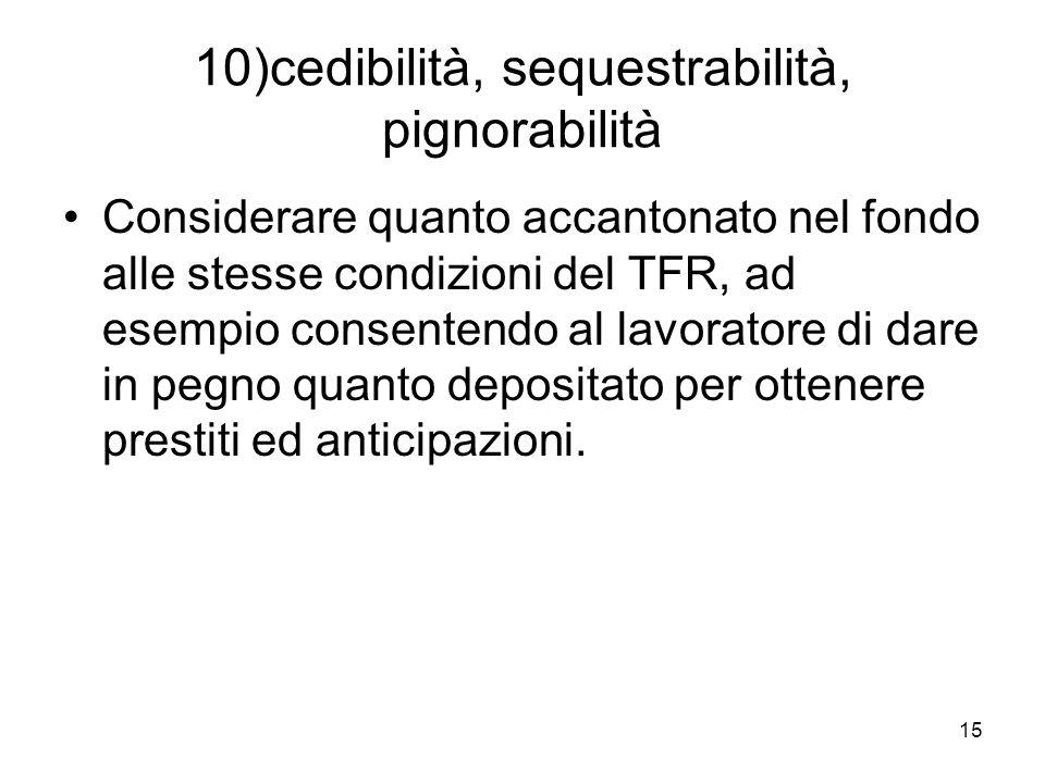 15 10)cedibilità, sequestrabilità, pignorabilità Considerare quanto accantonato nel fondo alle stesse condizioni del TFR, ad esempio consentendo al lavoratore di dare in pegno quanto depositato per ottenere prestiti ed anticipazioni.