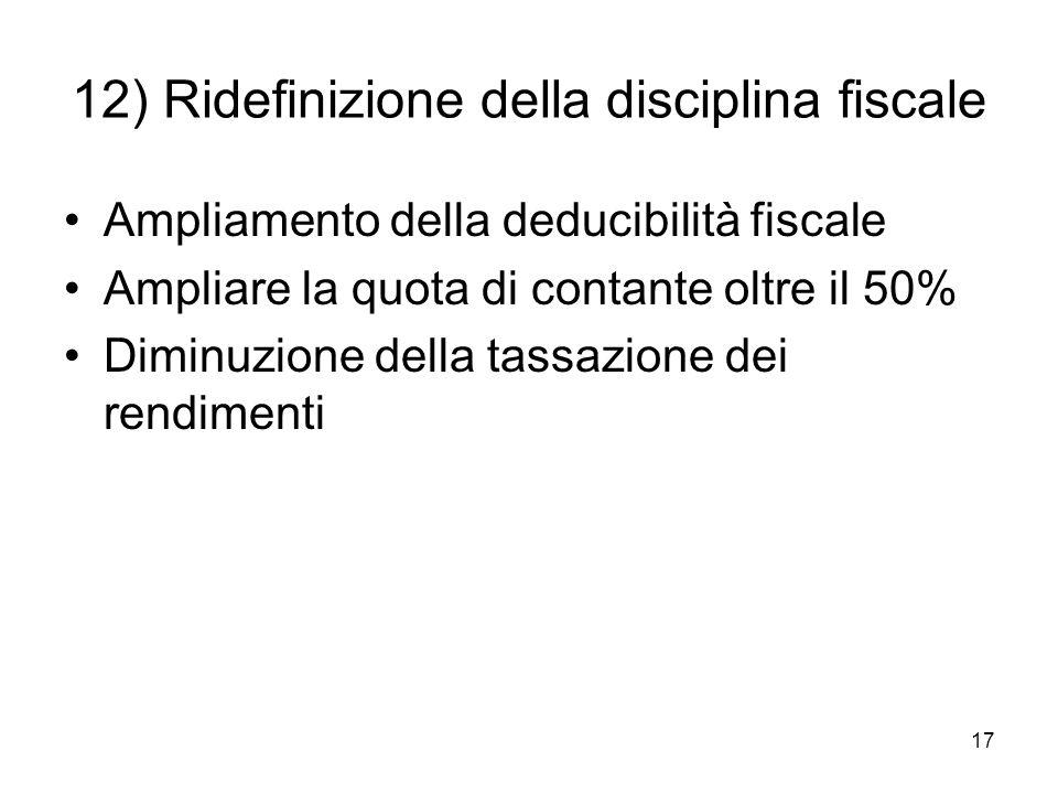 17 12) Ridefinizione della disciplina fiscale Ampliamento della deducibilità fiscale Ampliare la quota di contante oltre il 50% Diminuzione della tassazione dei rendimenti