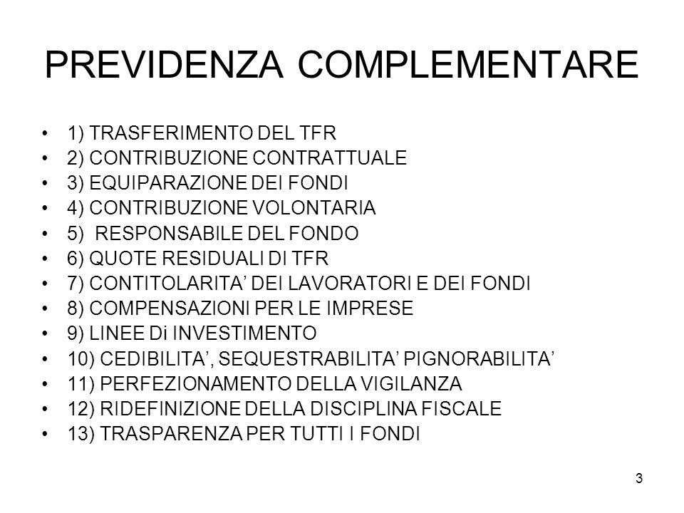 3 PREVIDENZA COMPLEMENTARE 1) TRASFERIMENTO DEL TFR 2) CONTRIBUZIONE CONTRATTUALE 3) EQUIPARAZIONE DEI FONDI 4) CONTRIBUZIONE VOLONTARIA 5) RESPONSABILE DEL FONDO 6) QUOTE RESIDUALI DI TFR 7) CONTITOLARITA DEI LAVORATORI E DEI FONDI 8) COMPENSAZIONI PER LE IMPRESE 9) LINEE Di INVESTIMENTO 10) CEDIBILITA, SEQUESTRABILITA PIGNORABILITA 11) PERFEZIONAMENTO DELLA VIGILANZA 12) RIDEFINIZIONE DELLA DISCIPLINA FISCALE 13) TRASPARENZA PER TUTTI I FONDI