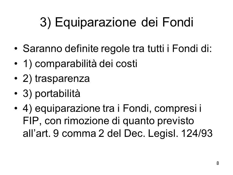 8 3) Equiparazione dei Fondi Saranno definite regole tra tutti i Fondi di: 1) comparabilità dei costi 2) trasparenza 3) portabilità 4) equiparazione tra i Fondi, compresi i FIP, con rimozione di quanto previsto allart.